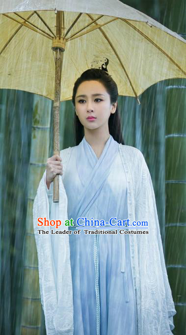 Traditional Ancient Chinese Elegant Female Swordsman Costume, Chinese Han Dynasty Fairy Dress, Cosplay Chinese Television Drama Jade Dynasty Qing Yun Faction Peri Hanfu Trailing Clothing for Women