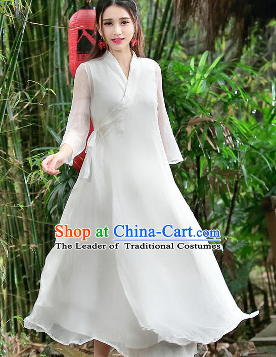 Traditional Ancient Chinese National Pleated Skirt Costume, Elegant Hanfu Mulberry Silk Slant Opening Long White Dress, China Tang Suit Chirpaur Republic of China Cheongsam Upper Outer Garment Elegant Dress Clothing for Women