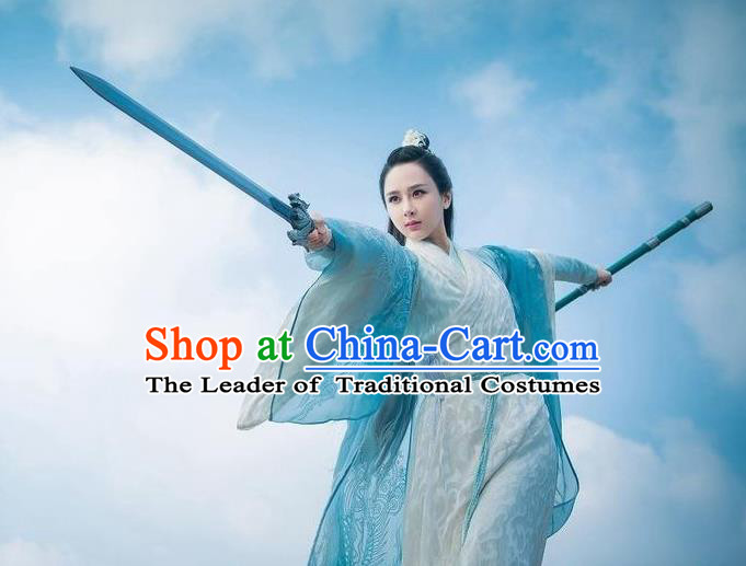 Traditional Ancient Chinese Elegant Swordsman Costume, Chinese Han Dynasty Fairy Dress, Cosplay Chinese Television Drama Jade Dynasty Qing Yun Faction Peri Hanfu Clothing for Women