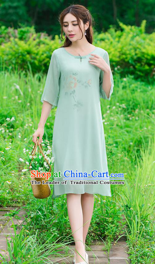 Traditional Ancient Chinese National Costume, Elegant Hanfu Mandarin Qipao Hand Painting Green Dress, China Tang Suit National Minority Dance Chirpaur Republic of China Cheongsam Upper Outer Garment Elegant Dress Clothing for Women