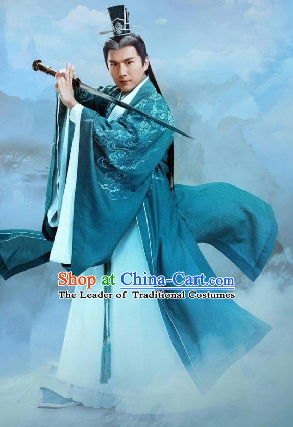 Traditional Ancient Chinese Elegant Swordsman Costume, Chinese Han Dynasty Taoist Priest Robes Kung fu Master Dress, Cosplay Chinese Television Drama Jade Dynasty Qing Yun Faction Elder Hanfu Clothing for Men