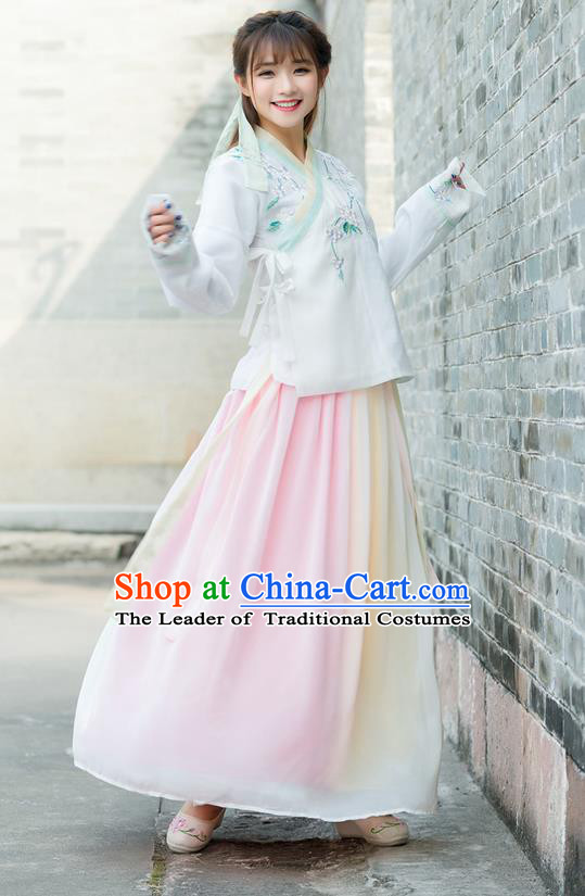 Traditional Ancient Chinese Costume, Elegant Hanfu Young Lady Clothing Embroidered Slant Opening Blouse and Dress, China Ming Dynasty Princess Elegant Blouse and Skirt Complete Set for Women