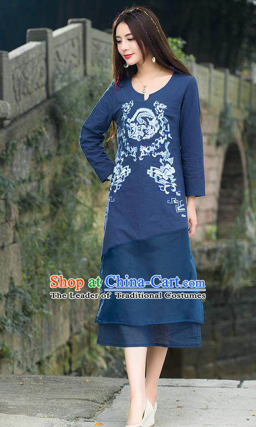 Traditional Ancient Chinese National Costume, Elegant Hanfu Mandarin Qipao Embroidery Dragon and Phoenix Totem Blue Dress, China Tang Suit Chirpaur Republic of China Cheongsam Upper Outer Garment Elegant Dress Clothing for Women