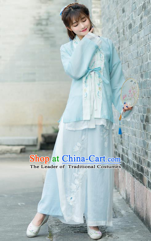 Traditional Ancient Chinese Costume, Elegant Hanfu Clothing Embroidered Blue Cardigan Blouse Sun-top and Pants, China Song Dynasty Princess Elegant Blouse and Trousers Complete Set for Women