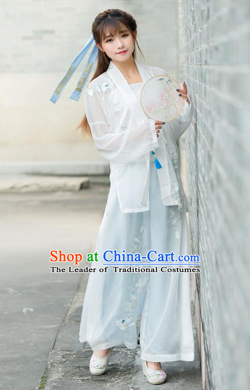 Traditional Ancient Chinese Costume, Elegant Hanfu Clothing Embroidered White Cardigan Blouse Sun-top and Pants, China Song Dynasty Princess Elegant Blouse and Trousers Complete Set for Women