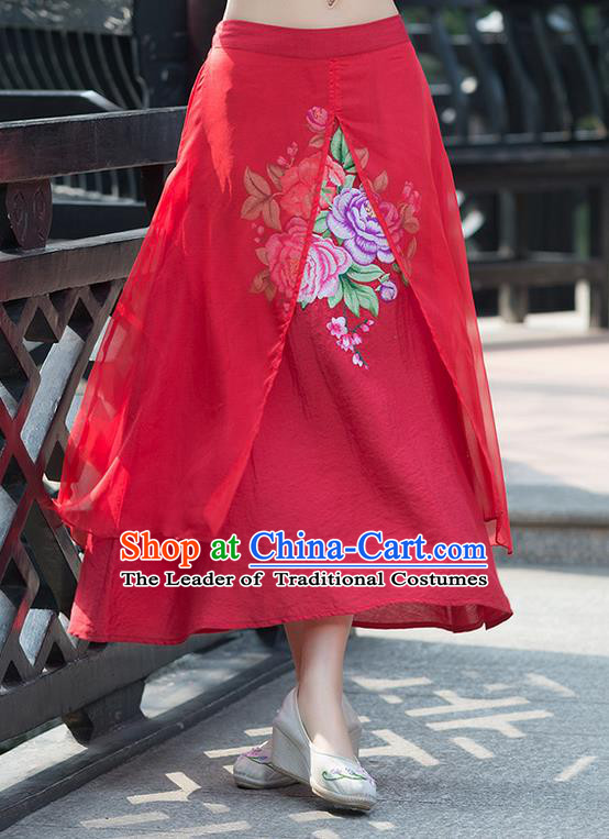 Traditional Ancient Chinese National Pleated Skirt Costume, Elegant Hanfu Embroidery Peony Flowers Double-deck Long Red Skirt, China Tang Suit Bust Skirt for Women