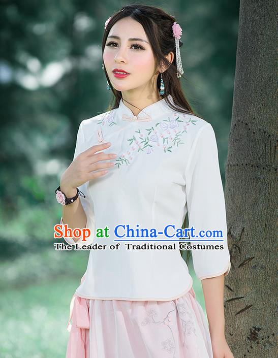 Traditional Chinese National Costume, Elegant Hanfu Embroidery Slant Opening White Stand Collar T-Shirt, China Tang Suit Republic of China Plated Buttons Blouse Cheongsam Upper Outer Garment Qipao Shirts Clothing for Women
