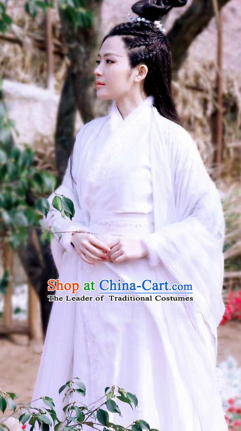 Traditional Ancient Chinese Elegant Swordsman Costume, Chinese Han Dynasty Young Lady Princess Dress, Cosplay Chinese Television Drama Jade Dynasty Qing Yun Faction Princess Peri Hanfu Trailing Embroidery Clothing for Women