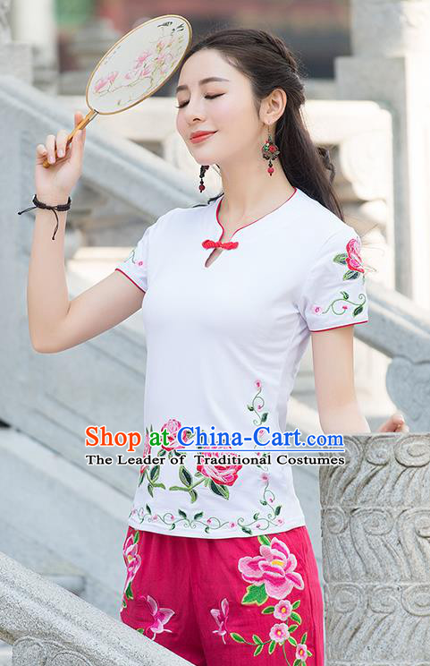 Traditional Chinese National Costume, Elegant Hanfu Embroidery Flowers White T-Shirt, China Tang Suit Republic of China Plated Buttons Blouse Cheongsam Upper Outer Garment Qipao Shirts Clothing for Women