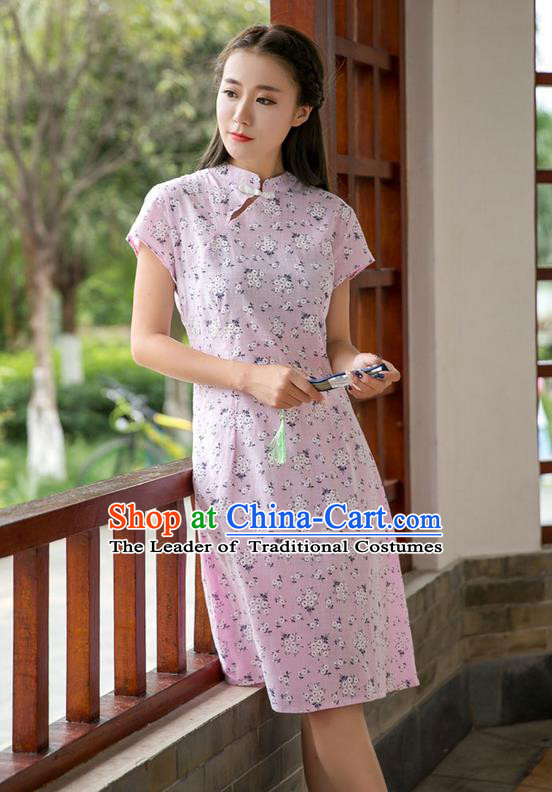 Traditional Ancient Chinese National Costume, Elegant Hanfu Mandarin Qipao Stand Collar Pink Dress, China Tang Suit Chirpaur Republic of China Plated Buttons Cheong-sam Elegant Dress Clothing for Women