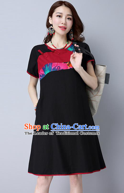 Traditional Ancient Chinese National Costume, Elegant Hanfu Mandarin Qipao Linen Black Gored Dress, China Tang Suit Chirpaur Republic of China Plated Buttons Cheongsam Elegant Dress Clothing for Women