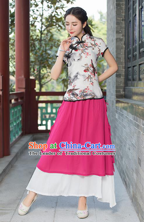 Traditional Chinese National Costume, Elegant Hanfu Ink Painting Birds Flowers Slant Opening Pink T-Shirt, China Tang Suit Republic of China Plated Buttons Chirpaur Blouse Cheong-sam Upper Outer Garment Qipao Shirts Clothing for Women