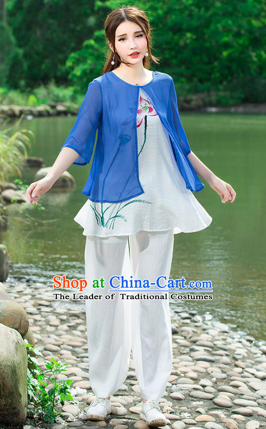 Traditional Chinese National Costume, Elegant Hanfu Hand Painting Lotus Flowers Blue Blouse, China Tang Suit Chirpaur Blouse Cheong-sam Upper Outer Garment Qipao Shirts Clothing for Women