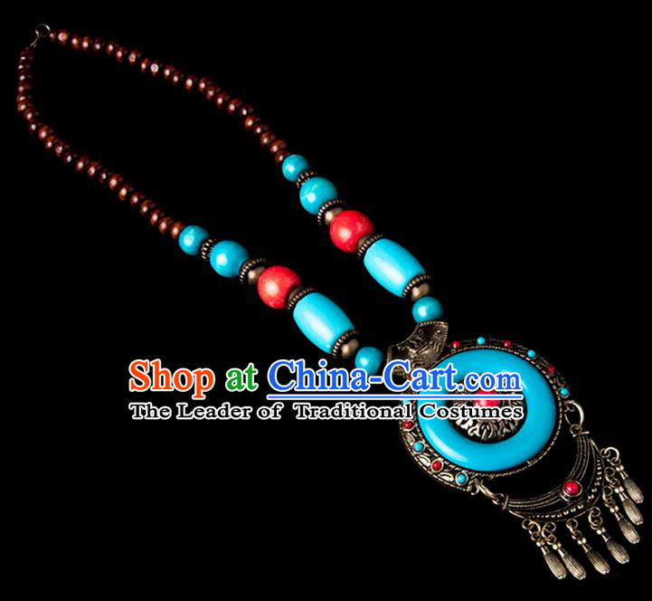 Traditional Chinese Zang Nationality Crafts, Hmong Handmade Tibet Blue Tassel Sweater Chain, Tibetan Ethnic Minority Necklace Accessories Pendant for Women