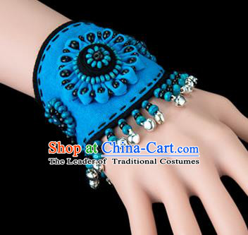 Traditional Chinese Miao Nationality Crafts, Yunan Hmong Handmade Flowers Bracelet Blue Cuff Bells Hand Decorative, China Miao Ethnic Minority Bangle Accessories for Women