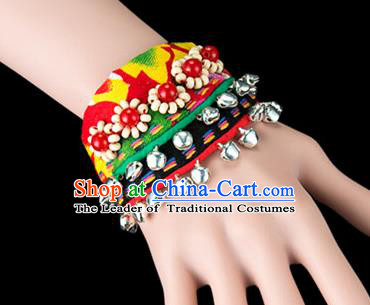 Traditional Chinese Miao Nationality Crafts, Yunan Hmong Handmade Beads Bracelet Green Cuff Bells Hand Decorative, China Miao Ethnic Minority Bangle Accessories for Women