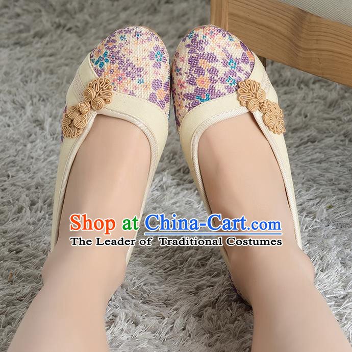 Traditional Chinese Shoes, China Handmade Linen Apricot Shoes, Ancient Princess Cloth Plated Buttons Shoes for Women