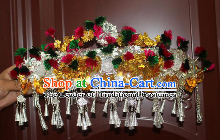 Traditional Chinese Miao Nationality Crafts Jewelry Accessory Hair Accessories, Hmong Handmade Miao Silver Palace Lady Tassel Headwear Hair Tuinga, Miao Ethnic Minority Hair Fascinators Hairpins Phoenix Coronet for Women
