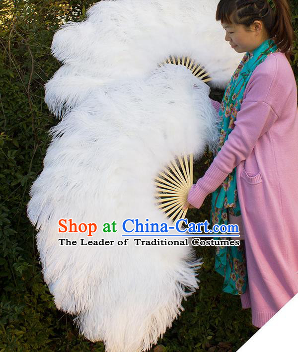 Traditional Handmade Chinese Classical Feather Fans, China Folk Dance Fan dance Stage Performance Large Size White Fan for Women