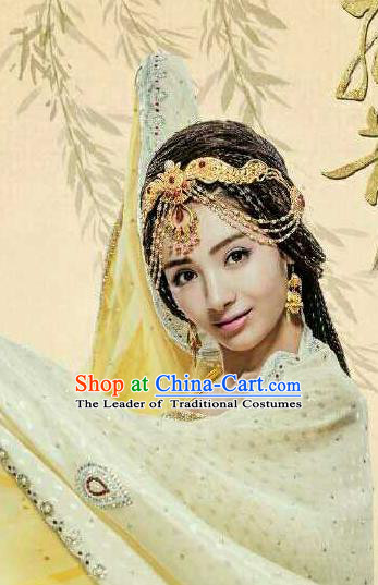 Traditional Handmade Chinese Ancient Classical Hair Accessories Complete Set, Han Dynasty Imperial Princess Headwear, Xiuhe Suit Hanfu Hair Sticks Hair Jewellery, Hair Fascinators Hairpins for Women