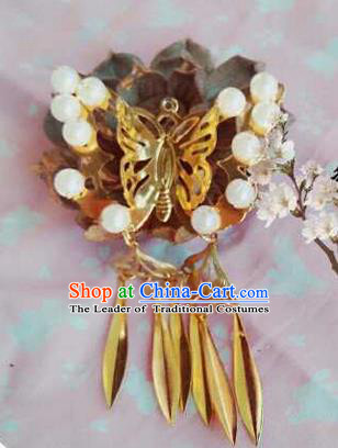 Traditional Handmade Chinese Ancient Classical Hair Accessories, Han Dynasty Barrettes Pearl Butterfly Hairpin, Hanfu Hair Sticks Tassel Hair Jewellery, Hair Fascinators Hairpins for Women