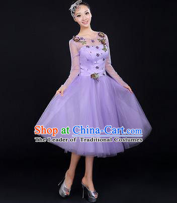 Traditional Chinese Modern Dancing Costume, Women Opening Dance Costume, Modern Dance Purple Bubble Dress for Women