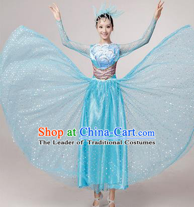 Traditional Chinese Modern Dancing Costume, Women Opening Classic Chorus Singing Group Dance Paillette Costume, Folk Dance Yangko Costume, Modern Dance Long Blue Peony Dress for Women