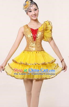 Traditional Chinese Modern Dancing Costume, Women Opening Classic Stage Performance Chorus Singing Group Dance Paillette Costume, Modern Dance Yellow Bubble Dress for Women