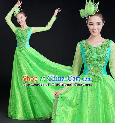 Traditional Chinese Modern Dancing Costume, Women Opening Classic Stage Performance Chorus Singing Group Dance Paillette Costume, Modern Dance Long Green Dress for Women