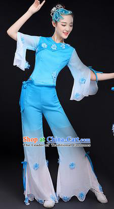 Traditional Chinese Yangge Fan Dancing Costume, Folk Dance Yangko Costume Drum Dance Classic Dance Jasmine Flower Blue Clothing for Women