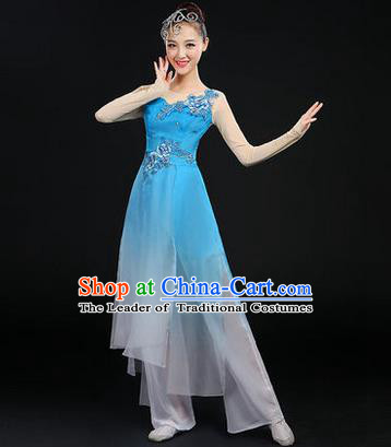 Traditional Chinese Yangge Fan Dancing Costume, Opening Dance Costume, Classic Dance Folk Dance Yangko Costume Drum Dance Blue Peony Clothing for Women