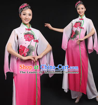 Traditional Chinese Yangge Fan Dancing Costume, Opening Dance Costume, Classic Dance Folk Lotus Dance Yangko Costume Drum Dance Pink Clothing for Women