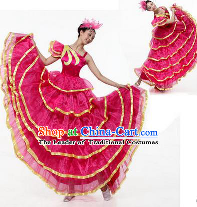 Traditional Chinese Modern Dancing Costume, Women Opening Classic Chorus Singing Group Dance Costume, Modern Dance Big Swing Pink Dress for Women