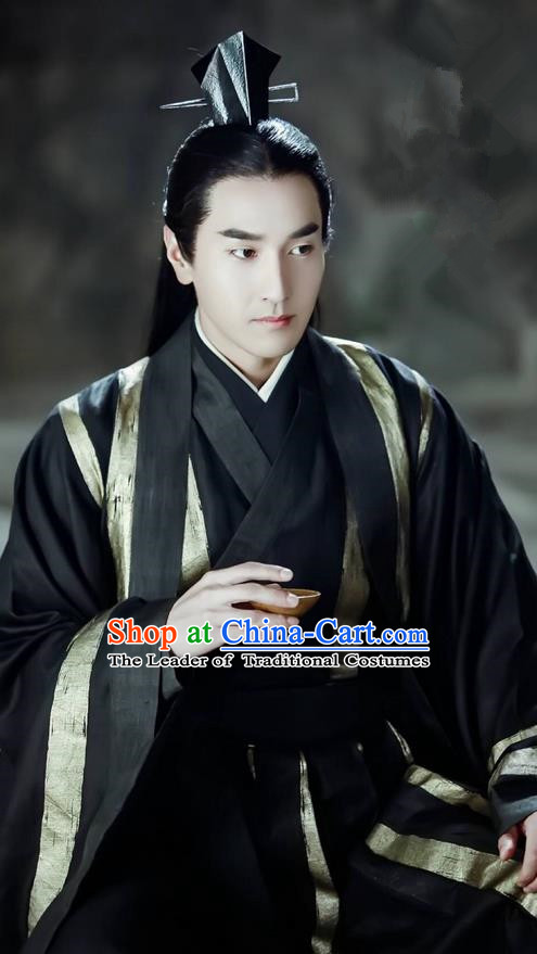 Traditional Ancient Chinese Nobility Childe Costume, Elegant Hanfu Male Lordling Dress, Han Dynasty Swordsman Clothing, China Imperial Crown Prince Wide Sleeve Clothing for Men