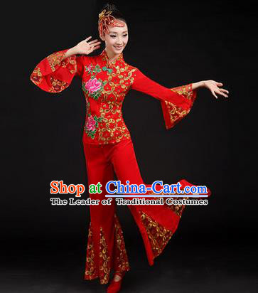 Traditional Chinese Yangge Fan Dancing Costume, Folk Dance Yangko Embroider Uniforms, Classic Dance Dress Drum Dance Red Clothing for Women