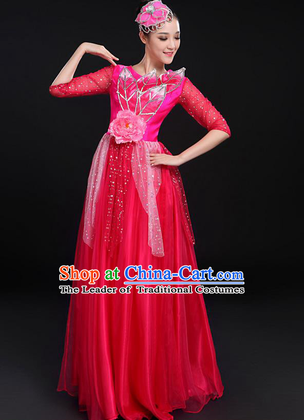 Traditional Modern Dancing Costume, Women Opening Classic Chorus Singing Group Dance Bubble Uniforms, Modern Dance Long Paillette Peony Pink Dress for Women