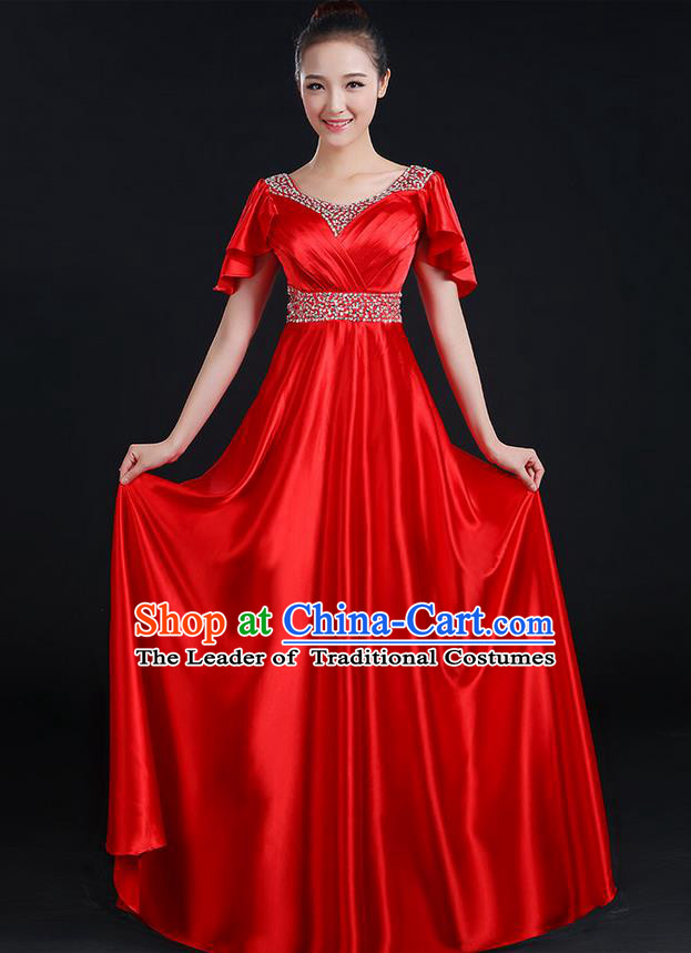 Traditional Chinese Modern Dancing Compere Costume, Women Opening Classic Chorus Singing Group Dance Uniforms, Modern Dance Crystal Long Red Dress for Women