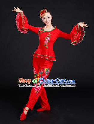 Traditional Chinese Yangge Fan Dancing Costume, Folk Dance Yangko Embroidered Peony Uniforms, Classic Umbrella Dance Elegant Dress Drum Dance Red Clothing for Women