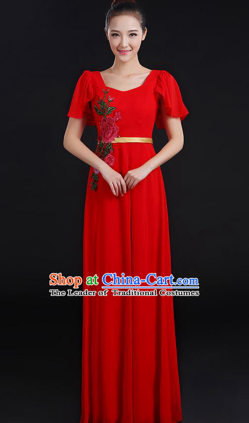 Traditional Chinese Modern Dancing Compere Costume, Women Opening Classic Chorus Singing Group Dance Peony Uniforms, Modern Dance Classic Dance Long Red Dress for Women