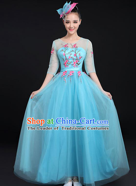 Traditional Chinese Modern Dancing Compere Costume, Women Opening Classic Chorus Singing Group Dance Bubble Uniforms, Modern Dance Embroidered Plum Blossom Long Blue Dress for Women