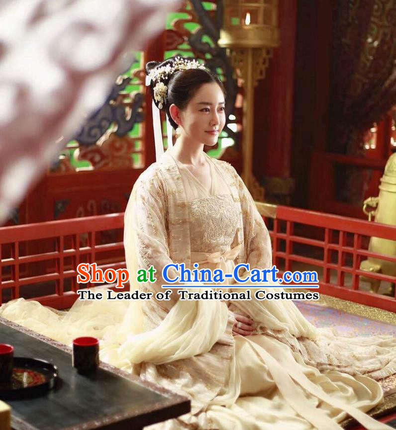 Traditional Ancient Chinese Palace Queen Costume, Elegant Hanfu Fairy Clothing Chinese Teleplay Ten great III of peach blossom Role Han Dynasty Imperial Empress Tailing Embroidered Clothing for Women