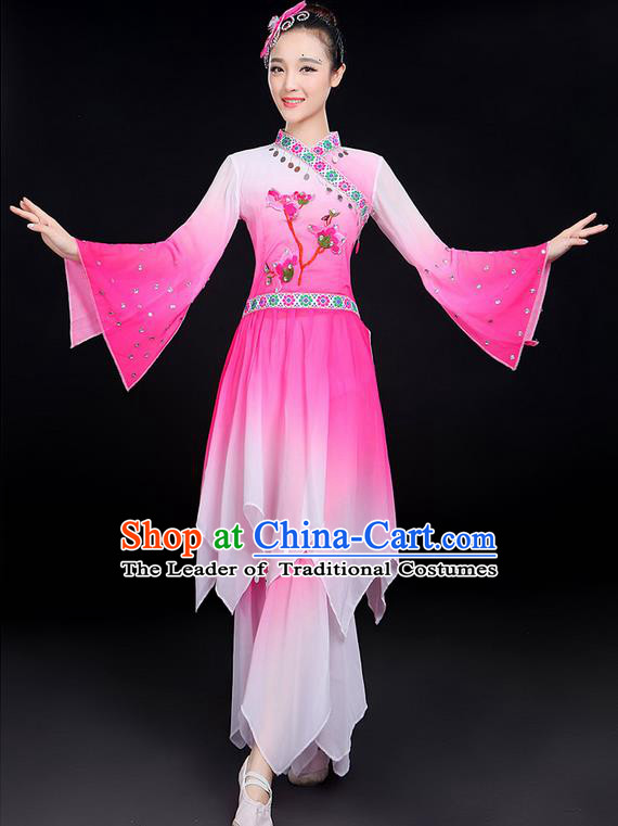 Traditional Chinese Yangge Fan Dancing Costume, Folk Dance Yangko Fairy Uniforms, Classic Lotus Dance Elegant Dress Drum Dance Pink Clothing for Women