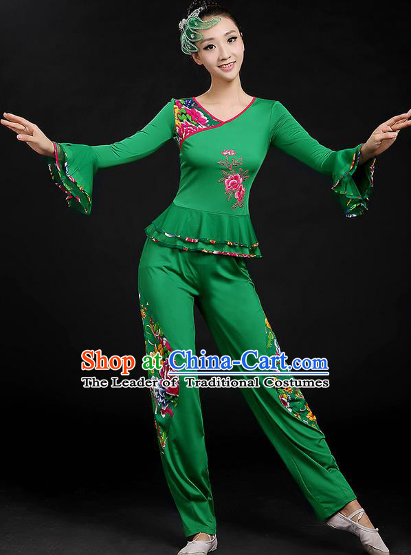 Traditional Chinese Yangge Fan Dancing Costume, Folk Dance Yangko Mandarin Sleeve Uniforms, Classic Dance Elegant Dress Drum Dance Peony Green Clothing for Women