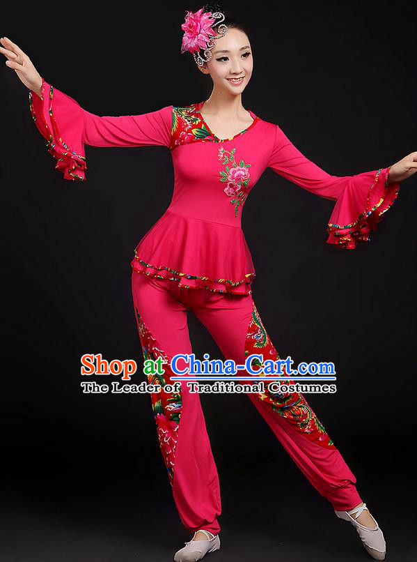Traditional Chinese Yangge Fan Dancing Costume, Folk Dance Yangko Mandarin Sleeve Uniforms, Classic Dance Elegant Dress Drum Dance Peony Rose Clothing for Women