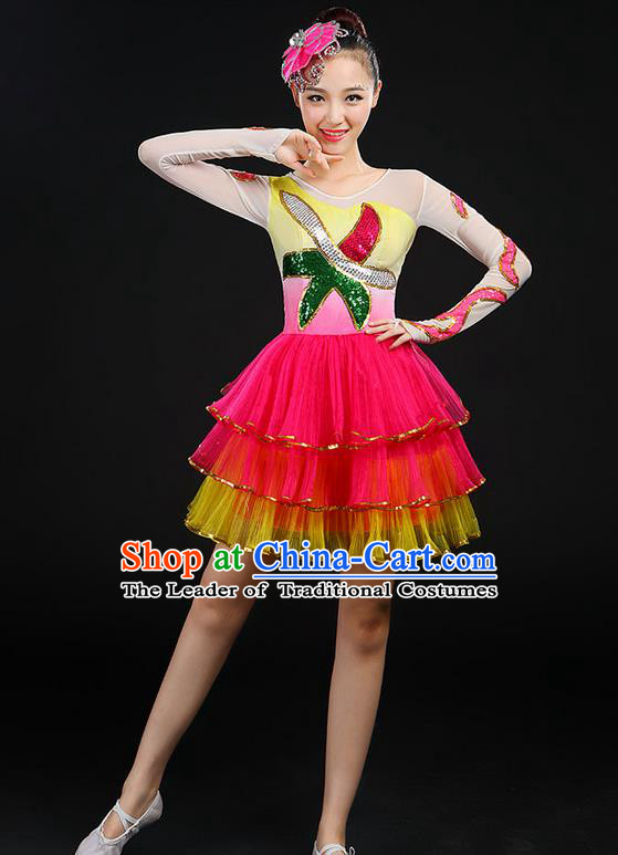 Traditional Chinese Yangge Fan Dancing Costume, Folk Dance Yangko Uniforms, Classic Umbrella Dance Elegant Dress Drum Dance Clothing for Women