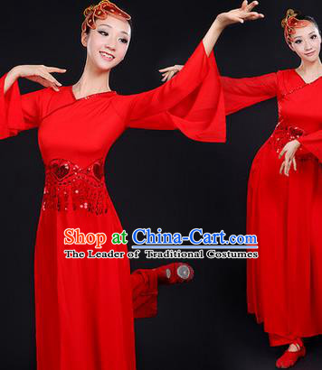 Traditional Chinese Yangge Fan Dancing Costume, Folk Dance Yangko Mandarin Sleeve Paillette Uniforms, Classic Dance Elegant Dress Drum Dance Paillette Red Clothing for Women