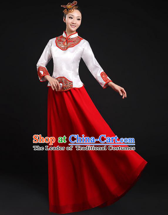 Traditional Chinese Modern Dancing Compere Costume, Women Opening Classic Chorus Singing Group Dance Uniforms, Modern Dance Classic Dance Cheongsam Red Dress for Women