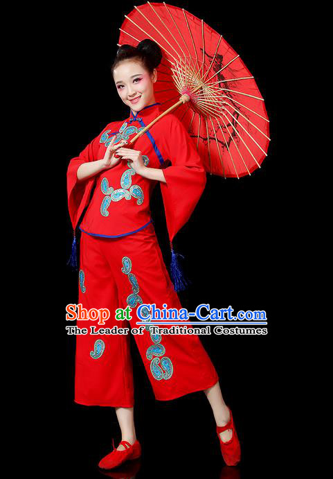 Traditional Chinese Yangge Fan Dancing Costume, Folk Dance Yangko Mandarin Sleeve Uniforms, Classic Dance Elegant Dress Drum Dance Red Clothing for Women