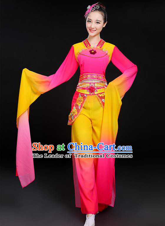 Traditional Chinese Yangge Fan Dancing Costume, Folk Dance Yangko Water Sleeve Uniforms, Classic Umbrella Dance Elegant Dress Drum Dance Pink Clothing for Women