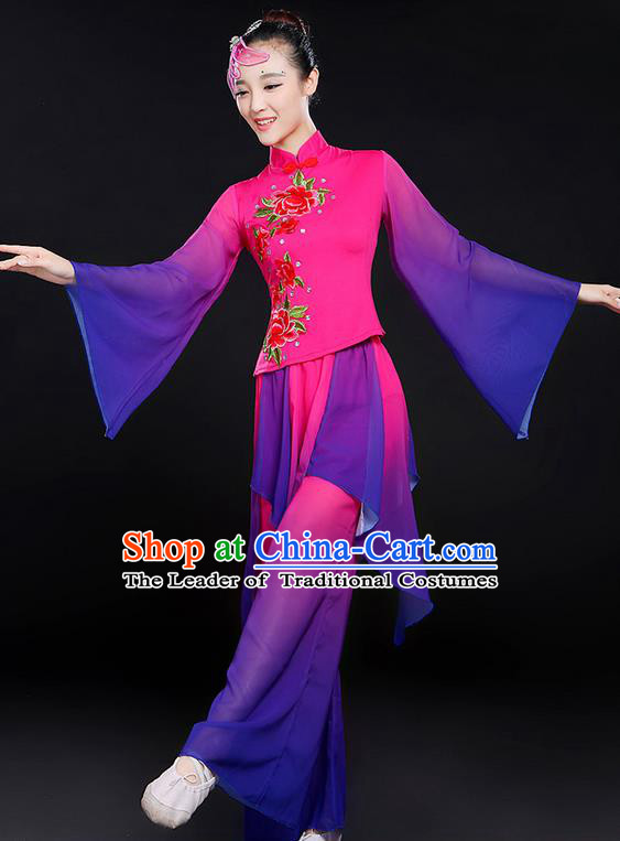 Traditional Chinese Yangge Fan Dancing Costume, Folk Dance Yangko Mandarin Sleeve Uniforms, Classic Umbrella Dance Elegant Dress Drum Dance Peony Purple Clothing for Women